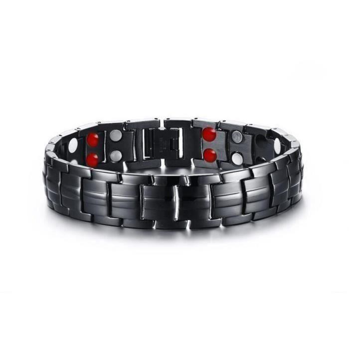 Bracelet Bijoux hommes15mm Acier inoxydable Double rangée AimantBracelet santé homme
