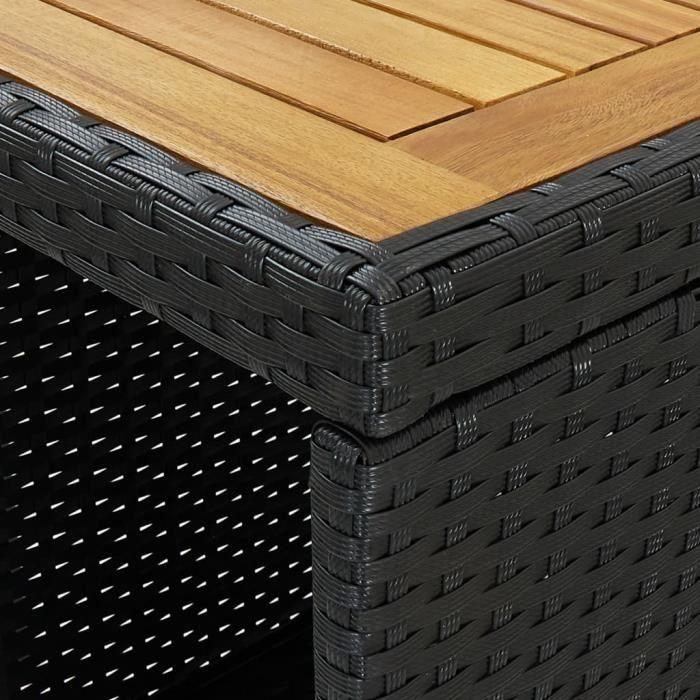Bingo- Ensemble de bar d'extérieur 5 pcs - Lot d'une Table + 4 chaises de bar et coussins Résine tressée Noir3262