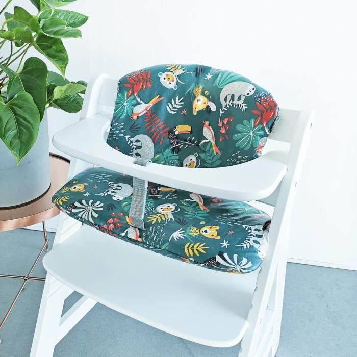 HAUCK - Coussin en revêtement plastifié pour chaise haute bébé, sur mesure pour Hauck, coton Oeko-Tex, vert animaux