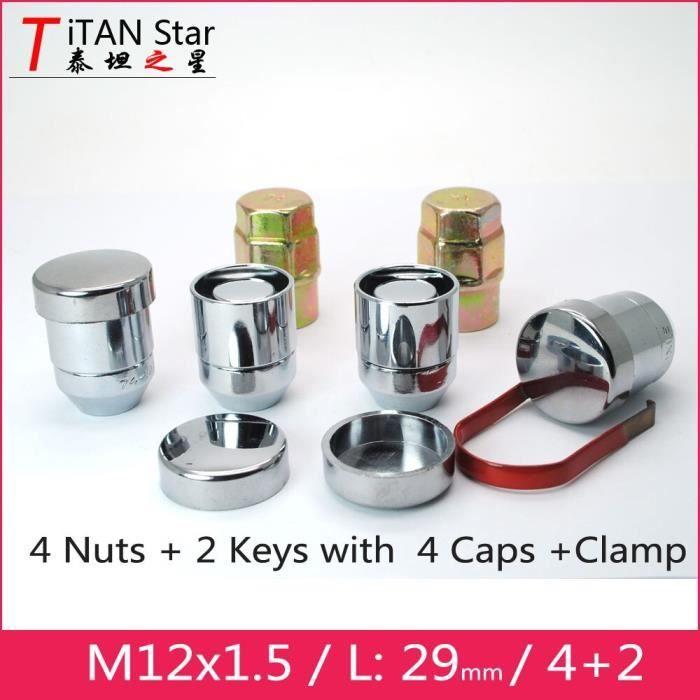 Pièces Auto,Écrous de roue antivol, 4 écrous + 2 clés 29mm 12x1.5 M12 1.5 écrous de roue, écrous OEM - Type Wheel Locks with cap