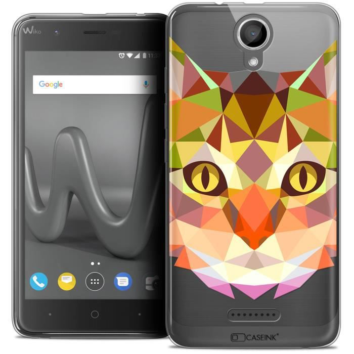 Coque Gel Wiko Harry (5 ) Extra Fine Polygon Animals - Chat