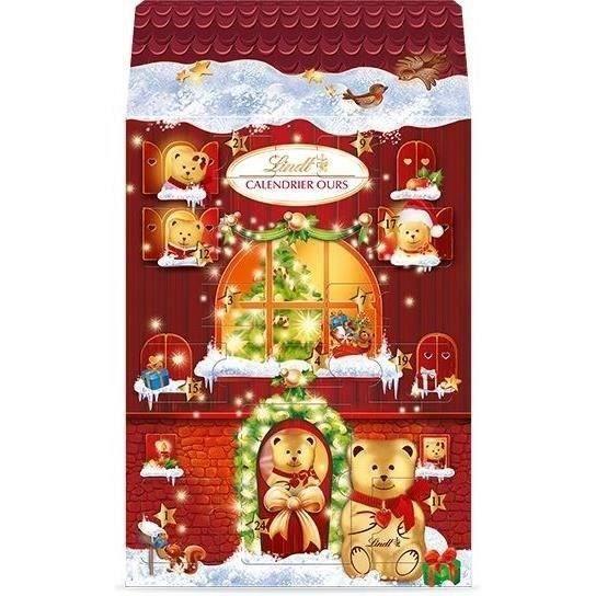 LINDT & SPRÜNGLI Calendrier de l'Avent Chocolat Châlet Ours Lait - 236 g