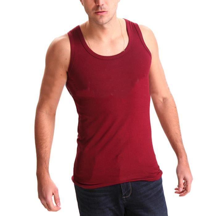 Débardeur T-Shirt Sans Manches Tank Top pour Homme Débardeur de Sport Fitness Jogging,Vin Rouge,L