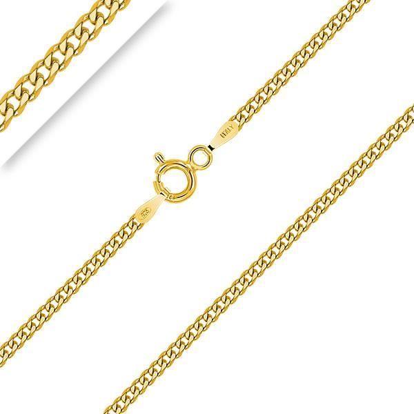 PLANETYS - Chaîne Argent 925 Plaqué Or 18 carats Maille Gourmette Plate Diamantée - 2 mm - 40-45-50-55-60-65-70 cm