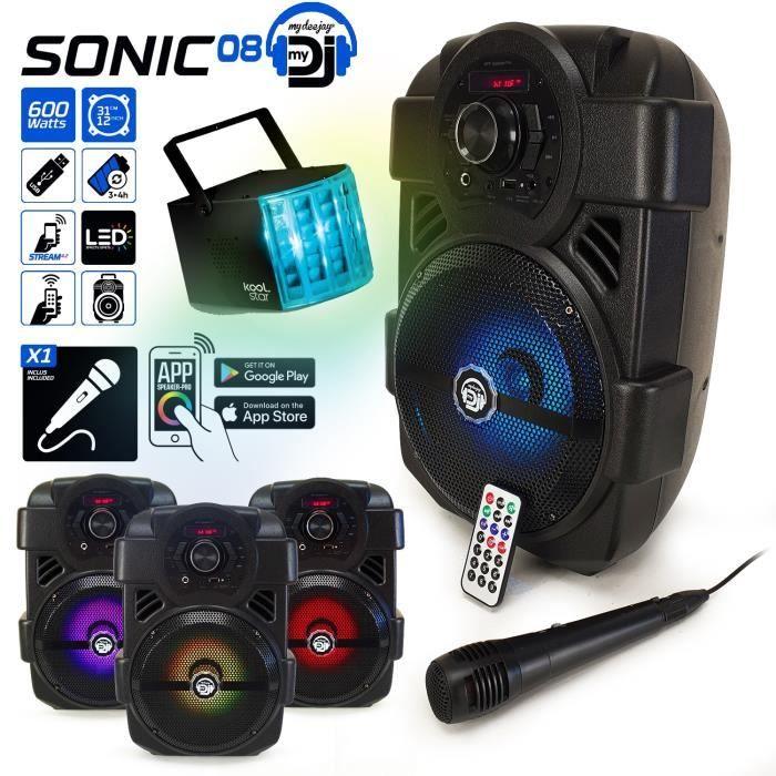 Enceinte 400W Sono autonome MyDj SONIC08 à LED APPLICATION SMARTPHONE USB/BT/RADIO FM/AUX - Télécommande + Micro Karaoké +DERBY
