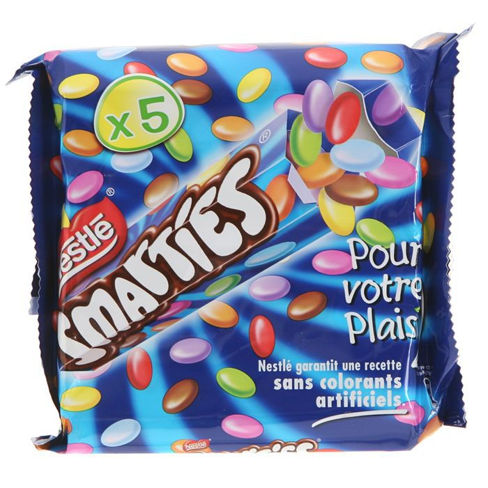 Smarties tube hexagonal bonbons au chocolat 5x38g