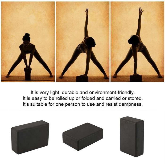 Briques Yoga (1pc noir) - 23 * 15 * 8 cm - Blocs de Yoga Block Pilates Bio en Mousse EVA Haute Densité Léger Confortable