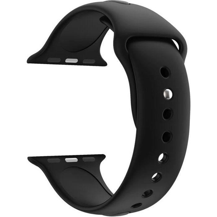 [Compatible Apple iWatch 38 mm] Bracelet Silicone Noir Souple Taille S-M Sport Mixte Remplacement Montre