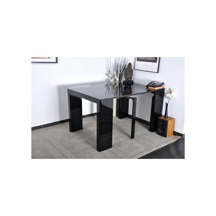 algo console extensible 90 180x90cm noir laqu achat vente console algo console extensible. Black Bedroom Furniture Sets. Home Design Ideas