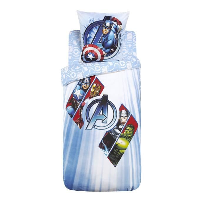 avengers ensemble de linge de lit enfant parure et drap housse multicolore achat vente. Black Bedroom Furniture Sets. Home Design Ideas