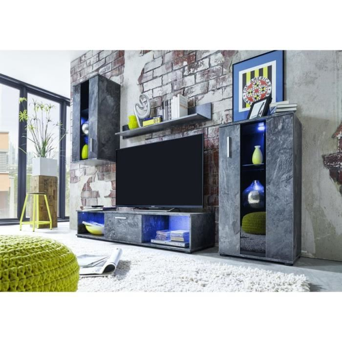 Meuble tv mural gris led polo 14 achat vente meuble for Meuble tv mural gris
