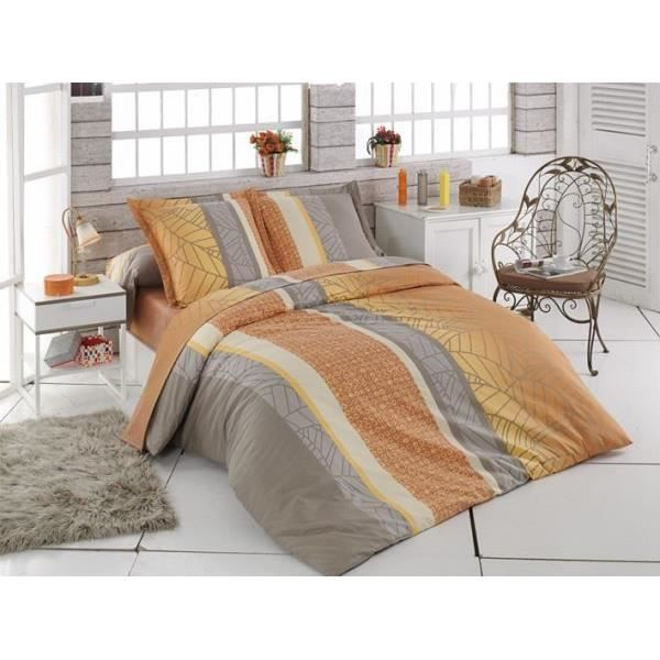 Housse de couette 220x240 cm tasmin orange fil b 2 taies for Housse de couette orange