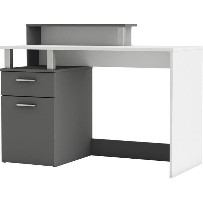 bureau multimedia bi color blanc gris achat vente bureau bureau multimedia blanc gris. Black Bedroom Furniture Sets. Home Design Ideas