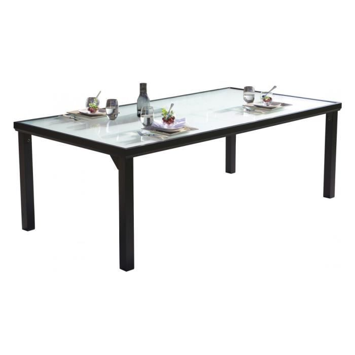 table de jardin aluminium noir plateau verre tremp l210 achat vente table de jardin table. Black Bedroom Furniture Sets. Home Design Ideas