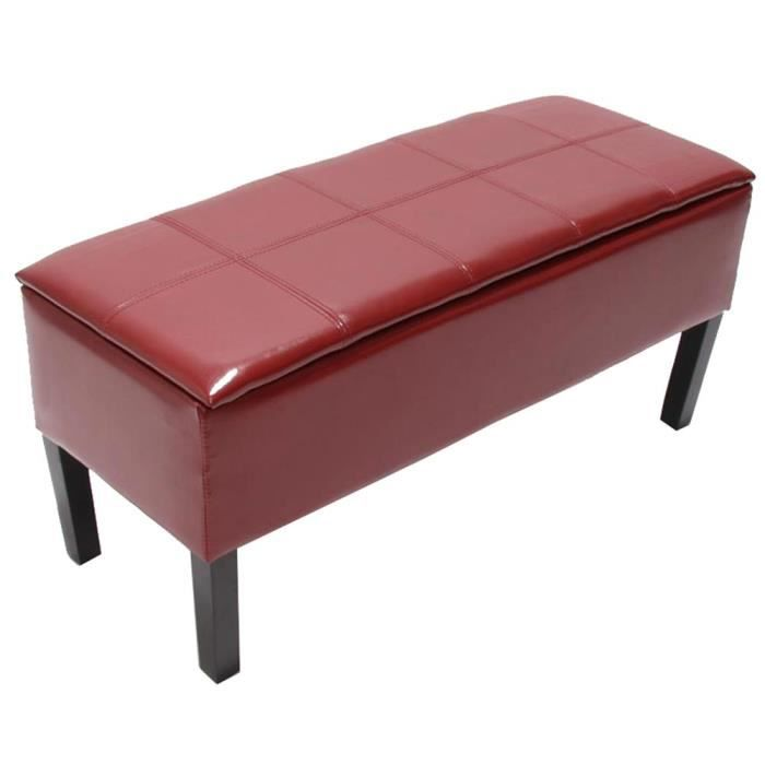 banc coffre de rangement renens 94x44x37 cuir recycl rouge achat vente banc d 39 ext rieur. Black Bedroom Furniture Sets. Home Design Ideas