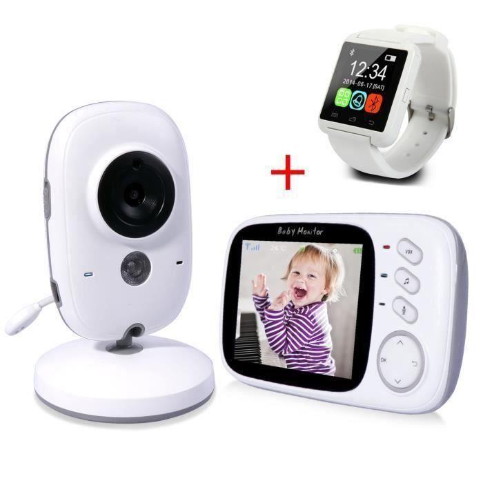 babyphone+baby bibs SmartBaby Babyphone B/éb/é Moniteur vid/éo,2 LCD Couleur Ecoute-B/éb/é Cam/éra Motorola,Vision Nocturne,2.4 GHz Phone Num/érique Bidirectionnel sans Fil,Temp/érature Surverillance