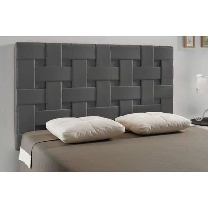 t te de lit tress pu couleur gris fonc mesure lit. Black Bedroom Furniture Sets. Home Design Ideas