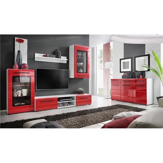 ensemble de meubles tv design mural niber blanc et rouge. Black Bedroom Furniture Sets. Home Design Ideas