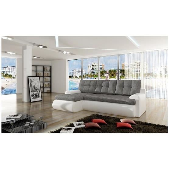 canap d 39 angle convertible sina gris et blanc angle gauche achat vente canap sofa divan. Black Bedroom Furniture Sets. Home Design Ideas