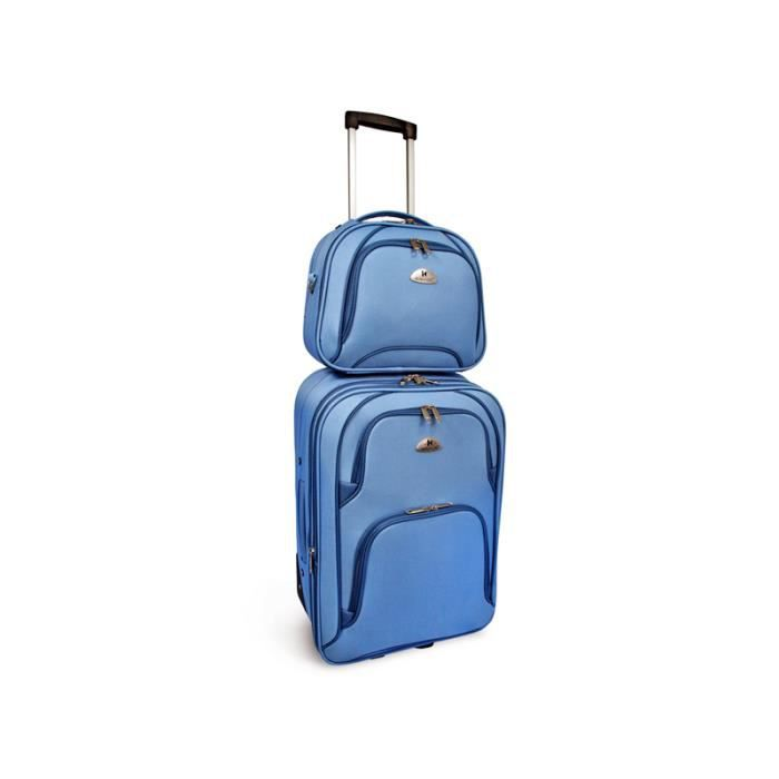 bagage kinston valise cabine vanity tissu bleu achat vente set de valises 2009975306900. Black Bedroom Furniture Sets. Home Design Ideas