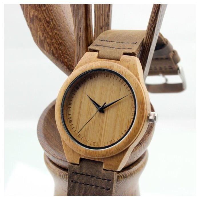 montre en bois de bambou avec bracelet en cuir achat vente montre montre en bois de bambou. Black Bedroom Furniture Sets. Home Design Ideas