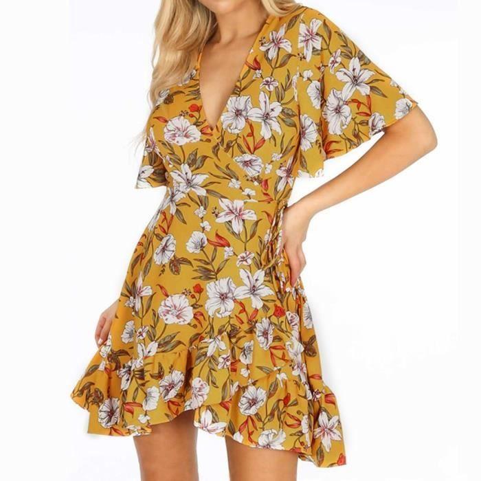 Robe Boheme Irreguliere A Manches Courtes Et Imprime Floral Pour Femme Jaune Jaune Achat Vente Robe Cdiscount