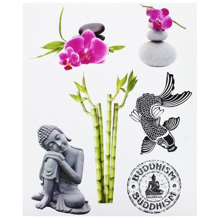 planche lot 6 stickers deco zen statue bouddha tag bambou galets achat vente stickers bambou. Black Bedroom Furniture Sets. Home Design Ideas