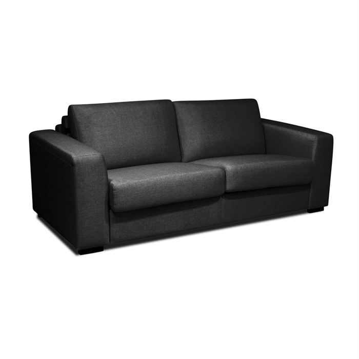 pronto canap droit convertible lit 3 places noir achat vente canap sofa divan tissu. Black Bedroom Furniture Sets. Home Design Ideas