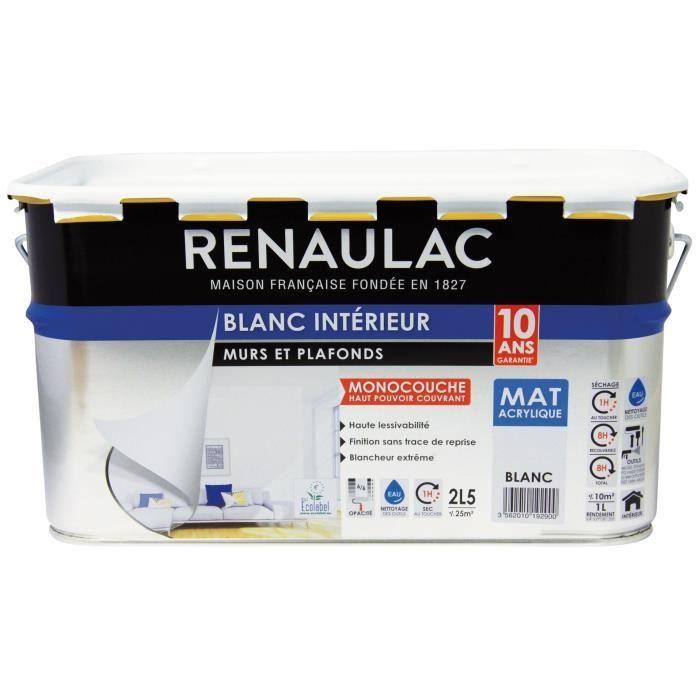 Renaulac Peinture Intérieur Murs Et Plafonds Monocouche Acrylique 2 5 L Blanc Mat Lessivable
