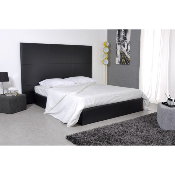 skin lit 160x200 pu noir avec grande t te de lit achat vente structure de lit skin lit. Black Bedroom Furniture Sets. Home Design Ideas