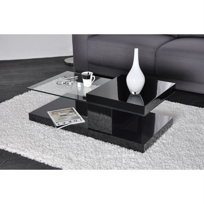 Stand table basse noire laqu e plateau rotatif meubles - Table basse escamotable stand up ...