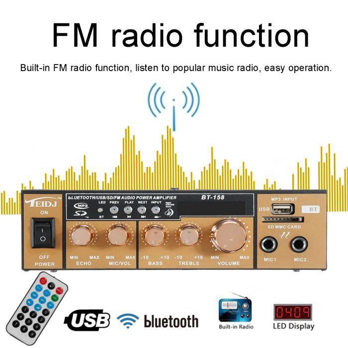 AMPLIFICATEUR HIFI TEMPSA 600W Amplificateur Audio Stéréo Bluetooth W