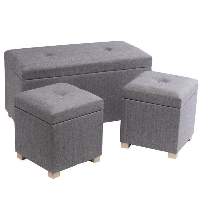 lot de 3 poufs gris coffres de rangement tissu et bois 2. Black Bedroom Furniture Sets. Home Design Ideas