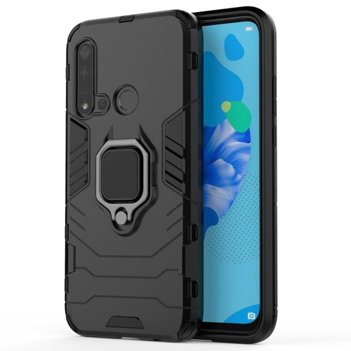 Coque Huawei P20 Lite 2019, Double Couche Étui avec Anneau Kickstand, Cover Housse Protection Pour Huawei P20 Lite 2019 - Noir
