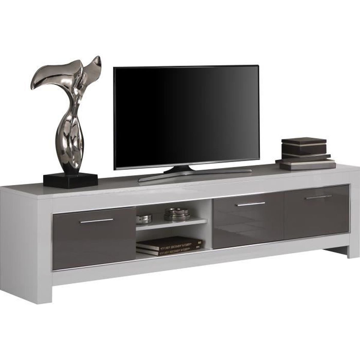 meuble tv design blanc et gris laqu brillant de 207 cm blanc et gris achat vente meuble tv. Black Bedroom Furniture Sets. Home Design Ideas