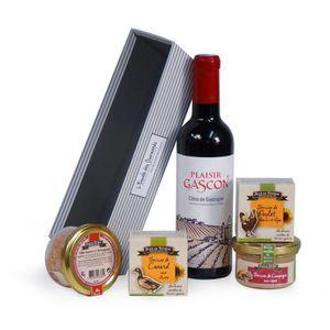 COFFRET CADEAU ÉPICERIE JEAN DE VEYRAC Panier Sélection Gourmande, contien