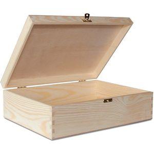 COFFRE - MALLE A4 Grande Boîte de Rangement Bois | 33,8 x 24,8 x