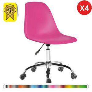 CHAISE DE BUREAU 4 x Chaise de Bureau roulettes Hauteur réglable