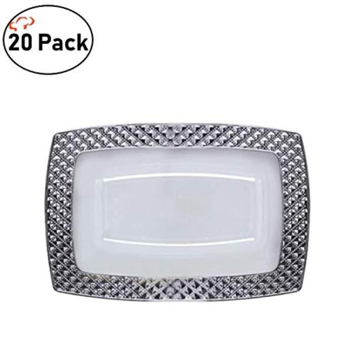 Shaker - Agitateur - Set Cocktail WXHGV TigerChef White Silver 5 Dessert Rectangle Plates Diamond Design Collection Pack Of 20
