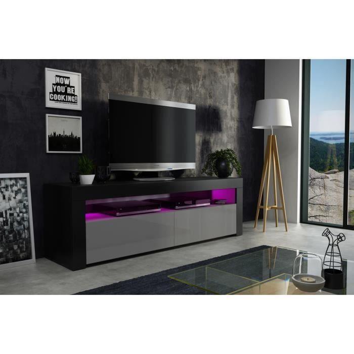 Meuble tv 157 cm noir mat et gris laqué + led RGB