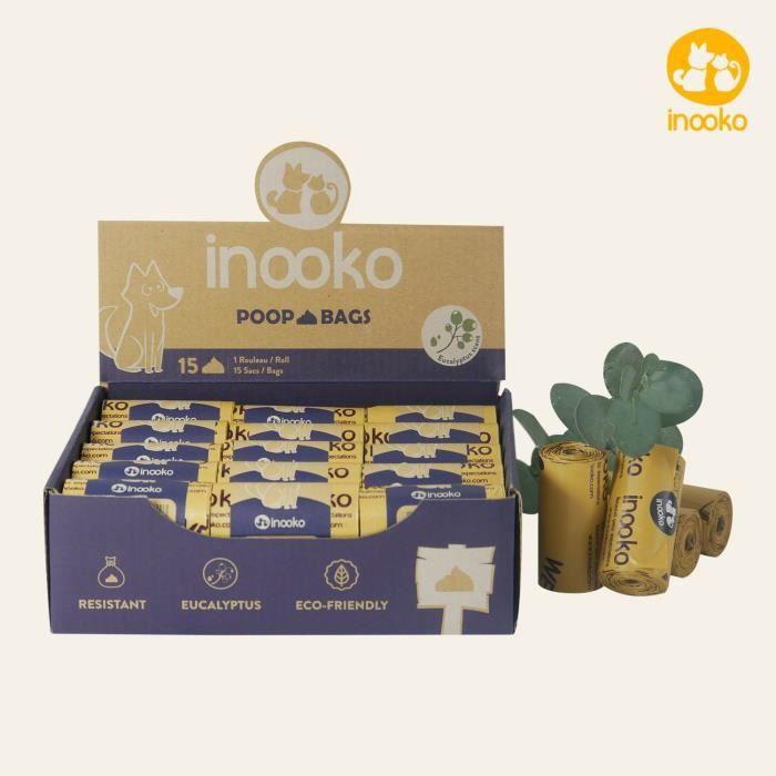 inooko - inooko - Sacs biodégradables pour déjections canines, Senteur Eucalyptus, 450 sacs - Grand et Ultra Résistant