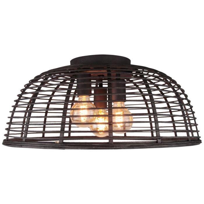 BRILLIANT Crosstown plafonnier 57cm bois foncé - noir Luminaires d'intérieur, plafonniers, décoratifs - 3x A60, E27, 40W, convient