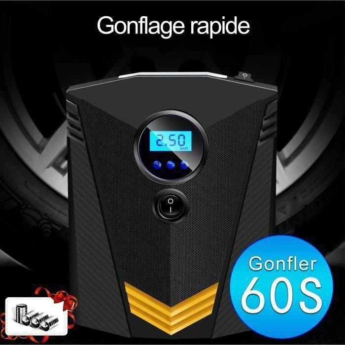 Compresseur d'air Voiture Portatif 12V - Affichage numérique , Gonfleur Pneus Arrêt automatique avec Lampe LED