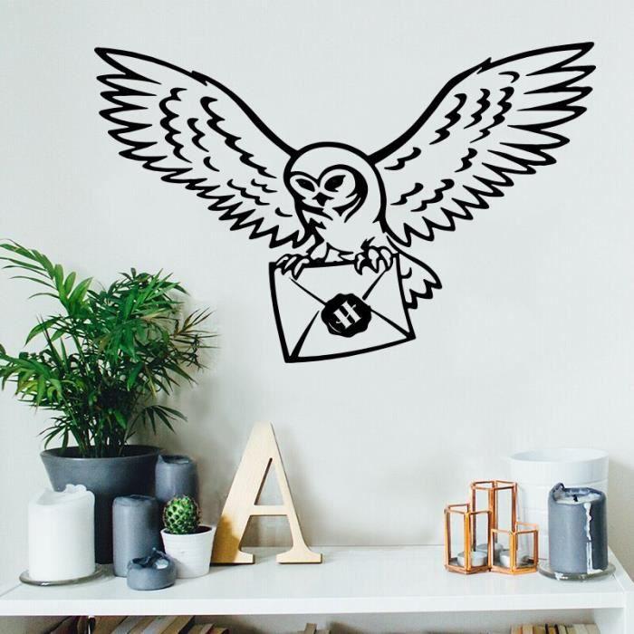 Autocollant mural harry Potter Harr, enveloppe d'oiseau, citation inspirante, décor mural en vin Brown 56cmwidex36cmhigh -XUNI6226