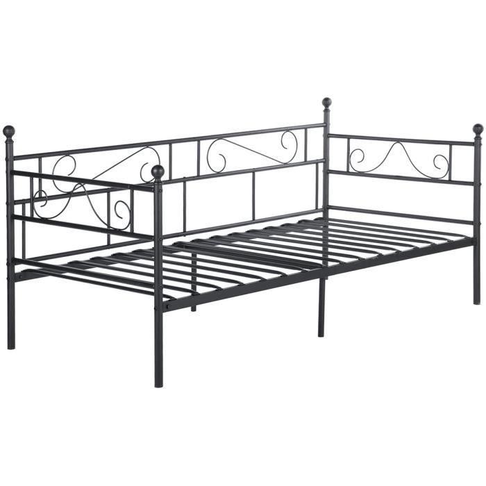 EGGREE Ca e de lit en Métal Canapé-Lit en Fer Forgé Lit Simple pour Enfant Adulte, 90 * 190cm Noir A216