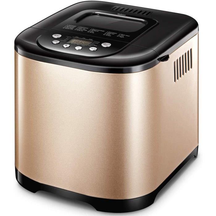 Yabano Machine à Pain 19 Programmes Acier Inox Pour Yaourt, Pain Sans Gluten, 15H, 1kg, 650W [Classe énergétique A+++]