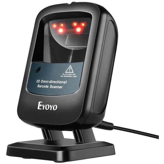 Eyoyo 2D Lecteur Code Barres de Bureau Filaire Scanner Code Barres de Données 1D 2D PDF417 Mains Libres Réveil Automatique Lecteur d