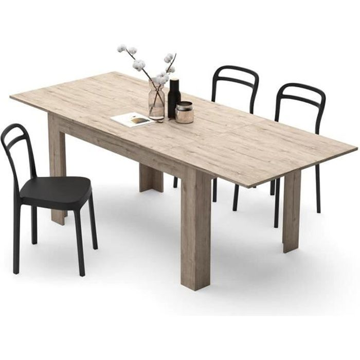 Mobili Fiver, Table extensible Cuisine, Easy, Chêne naturel, Mélaminé, Made in Italy