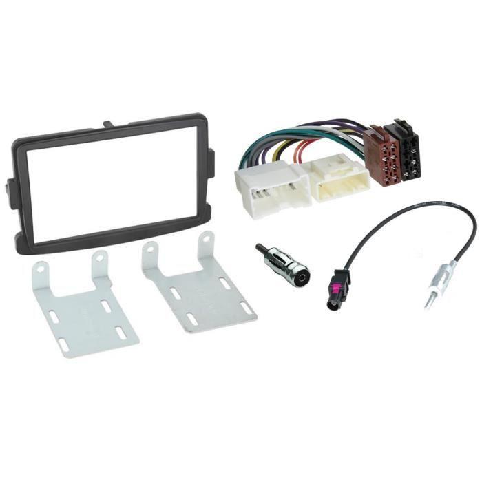 Kit montage autoradio adaptateur 2 DIN avec pour RENAULT DACIA gris foncé avec supports