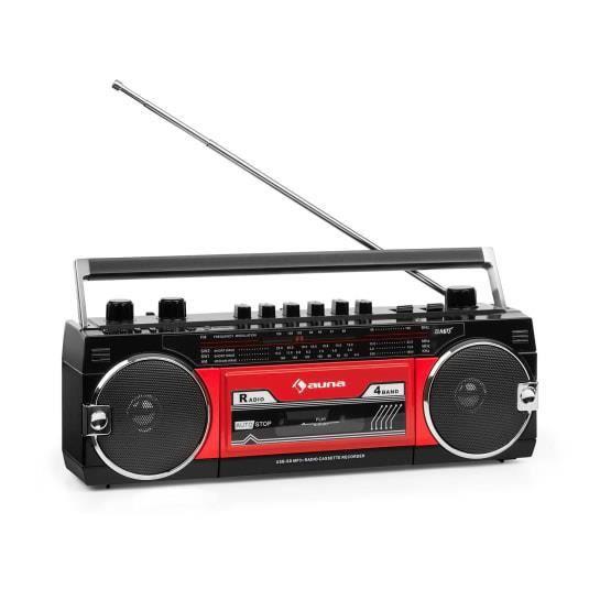 Radio Cassette - auna Duke MKII Magnétophone - portable - tuner FM Bluetooth - noir & rouge